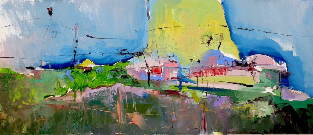 Modern abstract conceptual oil painting of a landscape including what could be a brightly lit circus